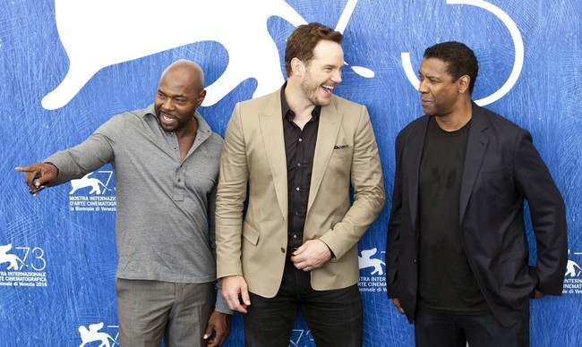 Antoine Fuqua, Chris Pratt y Denzel Washington en Venecia