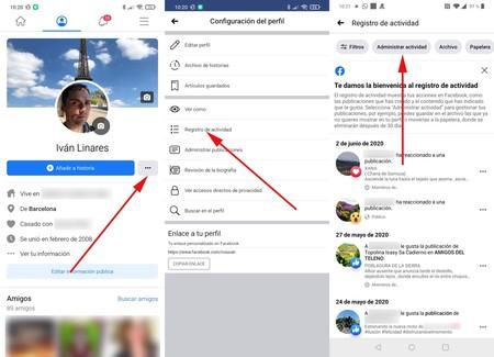 Facebook Administrar Actividad