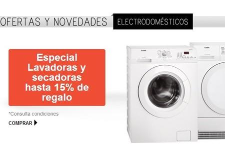 Hasta un 15 % de regalo del importe gastado en lavadoras y secadoras de El Corte Inglés