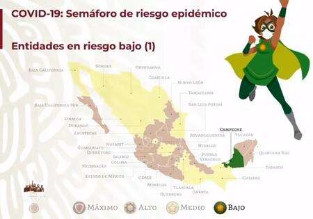 Campeche se convierte en el primer estado con semáforo verde de COVID en México: la mitad del país ya está en amarillo