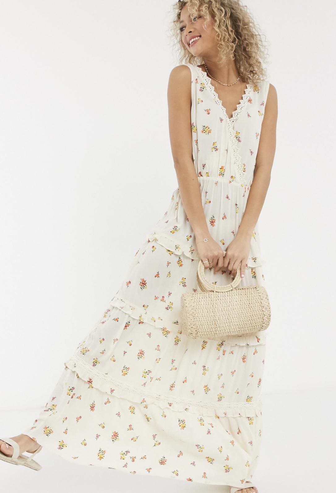 Vestido largo efecto arrugado a capas y sin mangas con aplicaciones de encaje y estampado floral de ASOS DESIGN