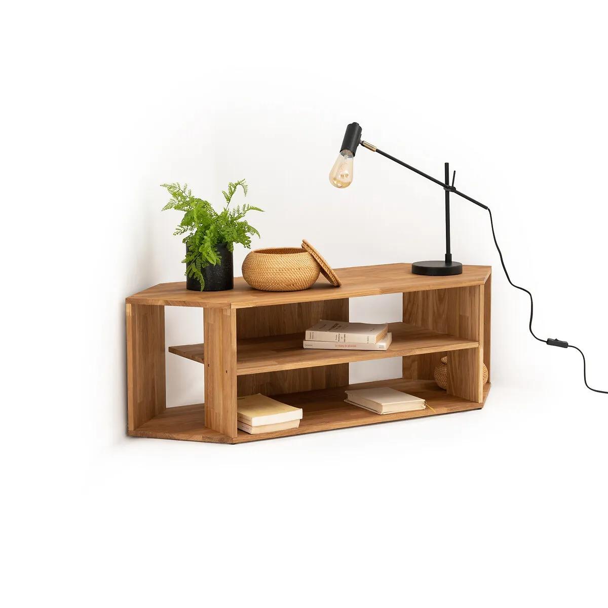 Mueble de TV rinconero de roble macizo, Edgar