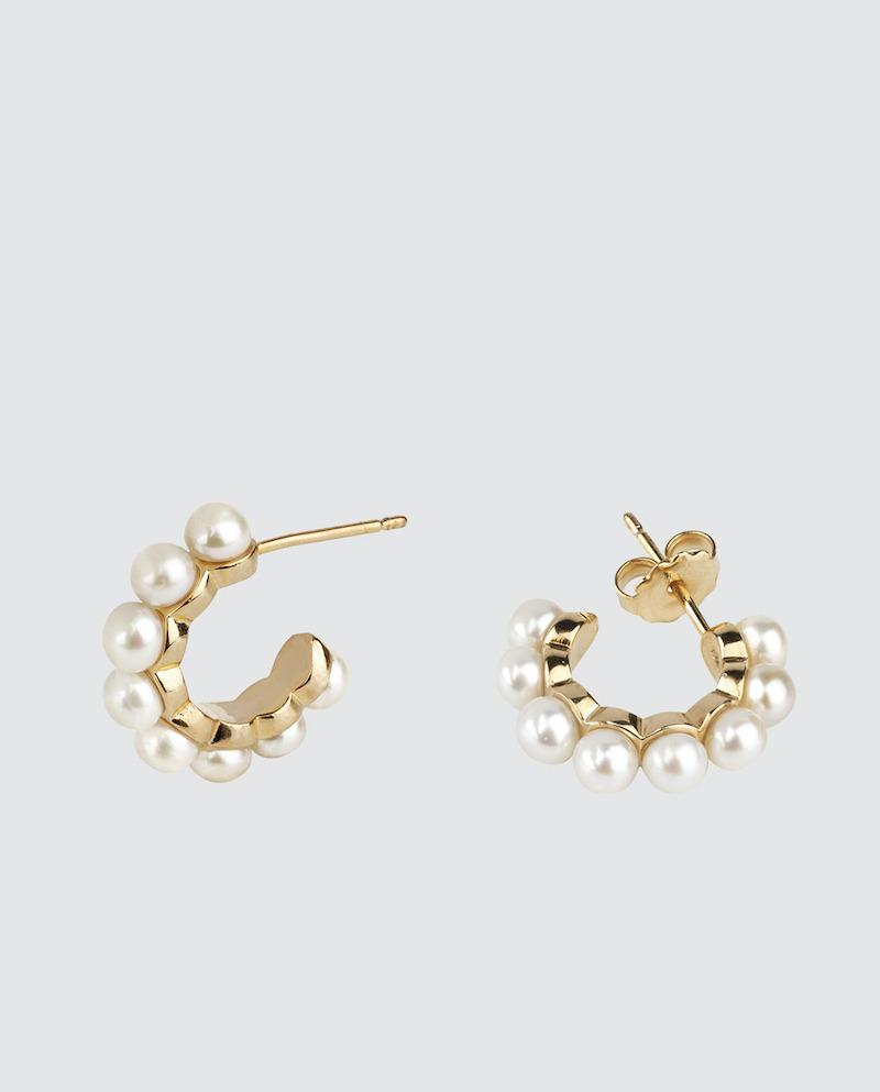 Pendientes de aro Vidal & Vidal by Rosanna Zanetti dorados con perlas