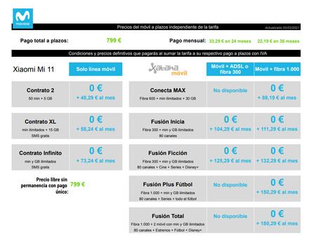 Precios Xiaomi Mi 11 Con Pago A Plazos Y Tarifas Movistar