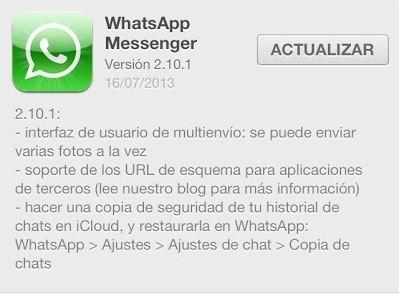Novedades de WhatsApp para iOS