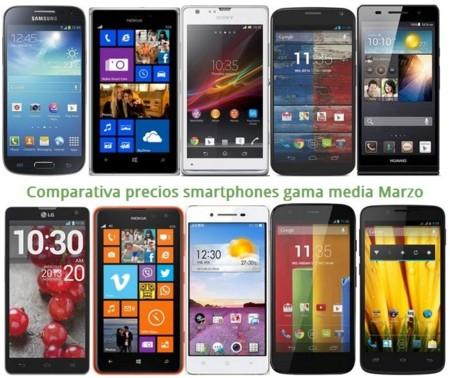 Comparativa precios Moto X, Lumia 1320, Huawei P6, Galaxy S4 mini, Xperia Z, Moto G, Lumia 625 y otros gama media en marzo
