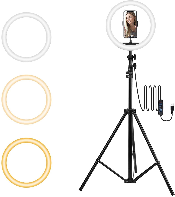 TECHVIDA Aro de Luz Led para Selfies con Trípode | Luz Circular Ajustable LED para Maquillaje | Fotografia | Videos (10 Pulgada)