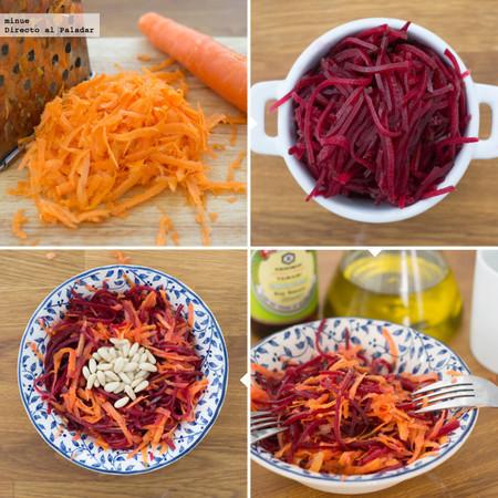 Ensalada Agridulce De Zanahoria Y Remolacha Con Pinones Receta Rallá las zanahorias y remolachas previamente cocidas con la parte gruesa del rallador. ensalada agridulce de zanahoria y