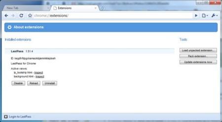 Chrome ya tiene un gestor de extensiones en la versión de desarollo
