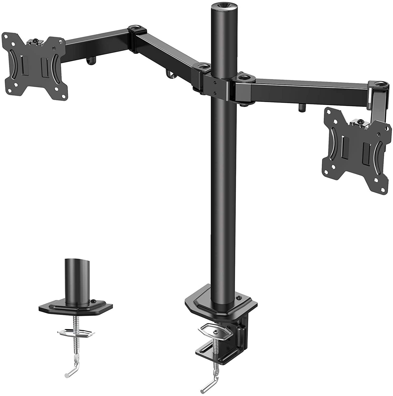 Soporte de escritorio para dos monitores con brazos ajustables - Pantallas de 13 a 27 pulgadas con VESA 75 mm o 100 mm