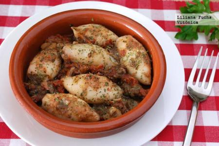 Chipirones con anchoas y tomate seco. Receta saludable