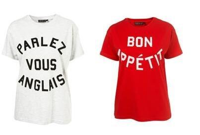 Las camisetas de Top Shop hablan francés