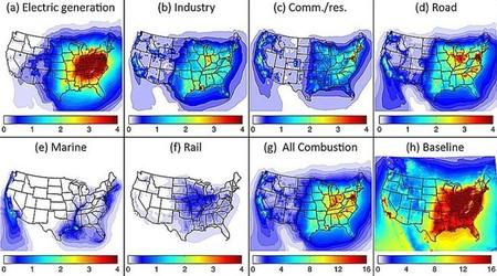 Mapa contaminaciónd el aire en EE.UU.