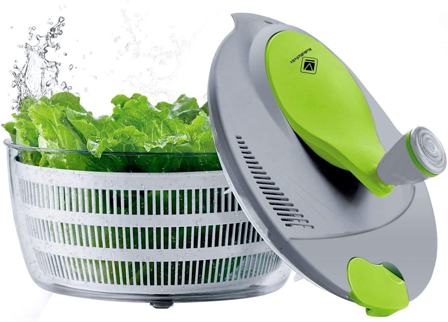 Kalokelvin - Centrifugador de ensalada de 4 litros de plástico, fácil de girar, para lavar y secar verduras