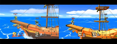 Comparativa del escenario de The Pirate Ship para Super Smash Bros., Wii U vs Wii
