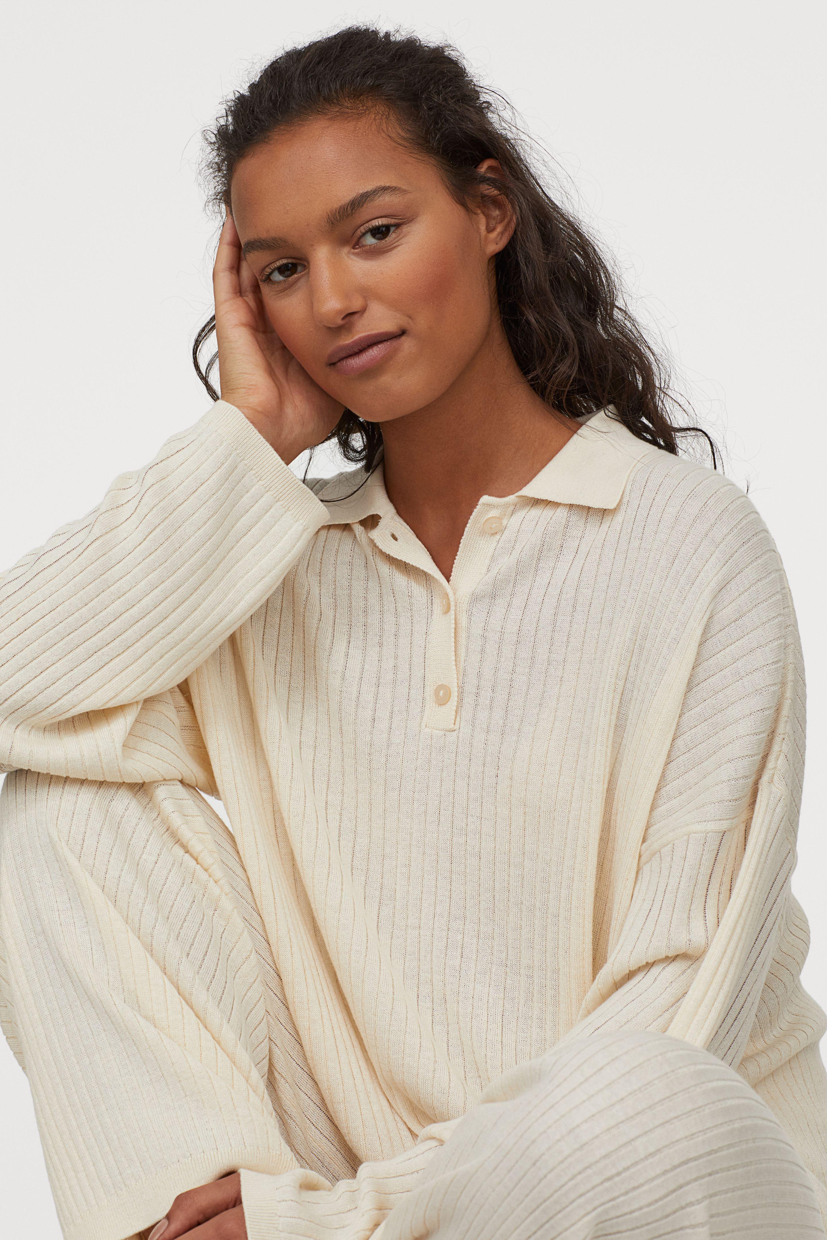 Jersey de canalé con cuello