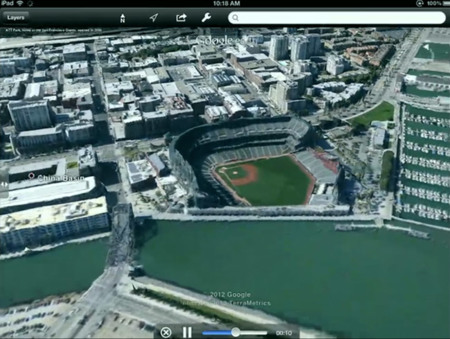 Google Earth con mapas 3D en iOS