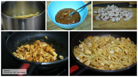 Espaguetis Pollo Mojo Picon Pasos