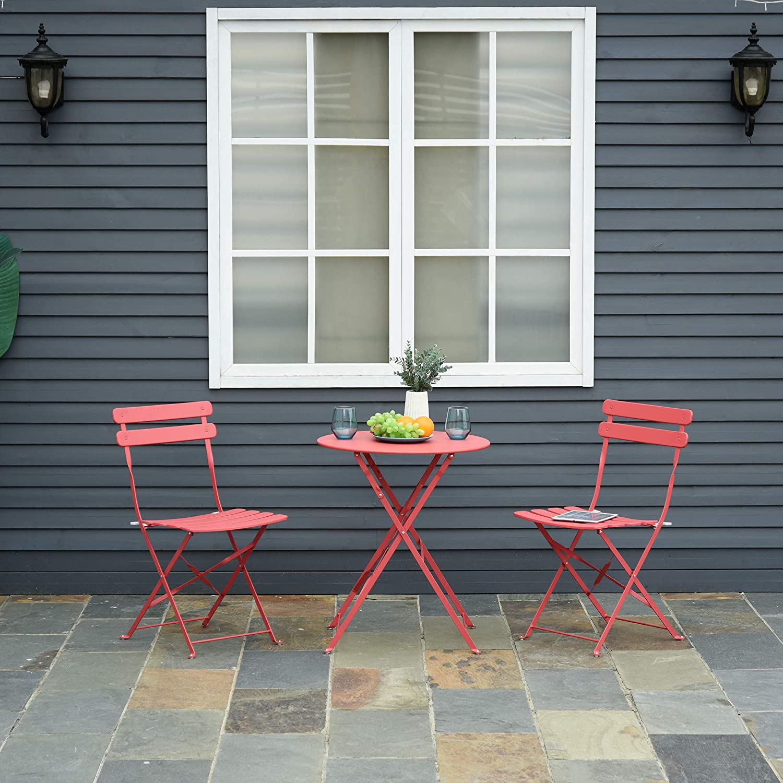 Outsunny Conjunto Muebles Plegables de Jardín de 3 Piezas Mesa y 2 Sillas de Metal para Balcón Terraza Exteriores