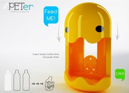 PETer, un simpático aplastador de latas y botellas