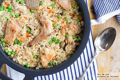 Receta otoñal de arroz con conejo