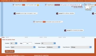Navegación de mensajes públicos filtrados en Plurk