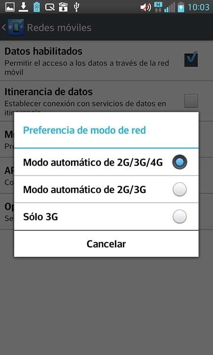Vodafone 4G en ajustes