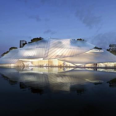 Arquitectura: Un teatro flotante impresionante con forma de velero, o de invernadero