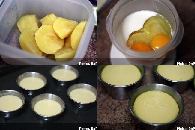Flan de manzana. Pasos