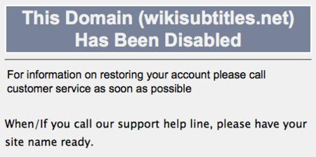 Imagen de la semana: Wikisubtitles cerrado por la FAP