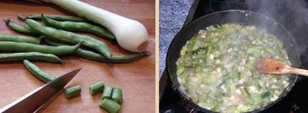 Receta de tortilla de habas con jamón, elaboración.