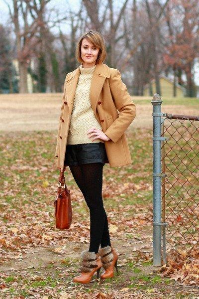 shorts cuero abrigo camel
