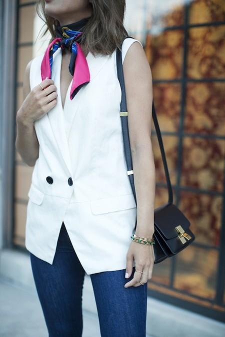 Aimee Song Of Style Hermes Scarf Sleeveless Blazer Celine Mini Classic Bag1
