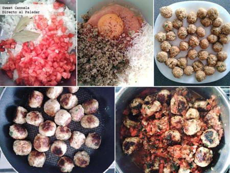 Preparación spaghetti con albóndigas de pollo