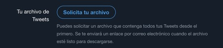 Solicitar archivo de Tweets