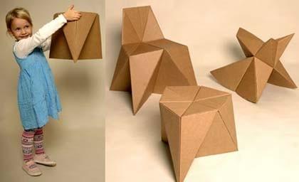 Fabrica muebles origami de cartón para tus niños