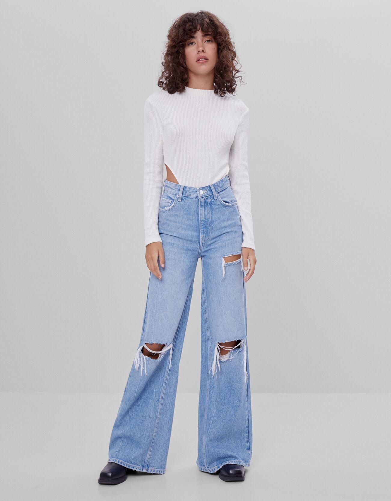 Jeans wide leg acampanados