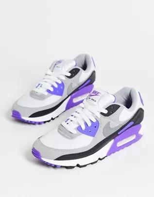 Zapatillas de deporte blancas y violetas Air Max 90 de Nike