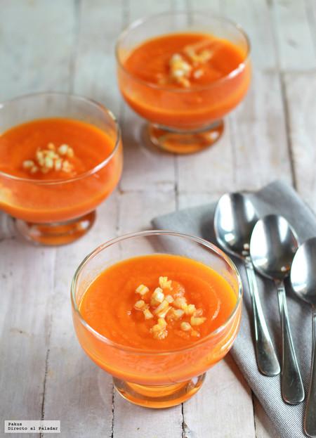 Crema fría de zanahorias y mango