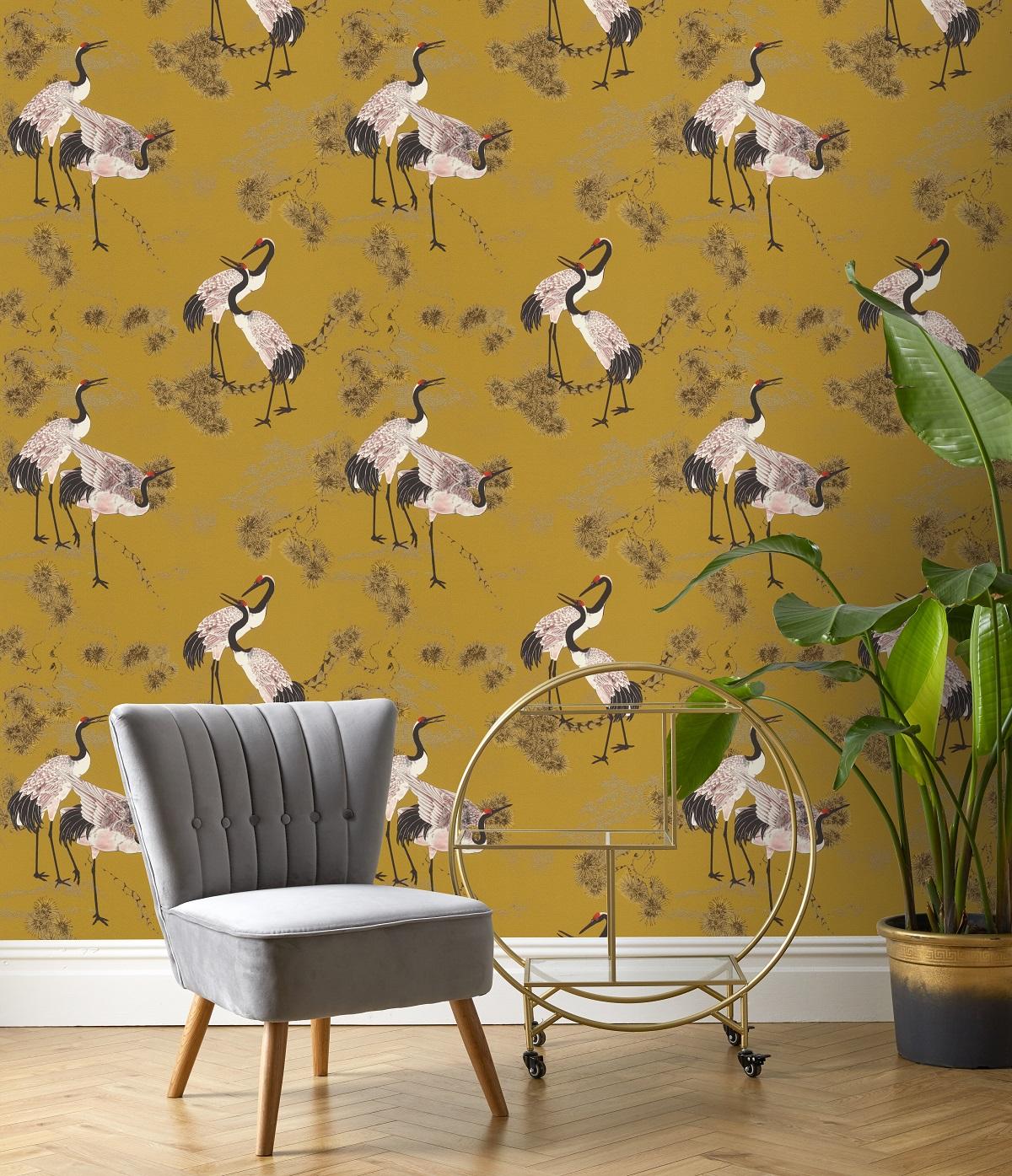 Papel pintado vinílico animales Garzas Mostaza amarillo