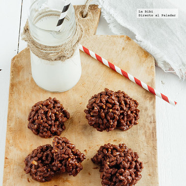 Bombones de arroz inflado con chocolate. Receta fácil