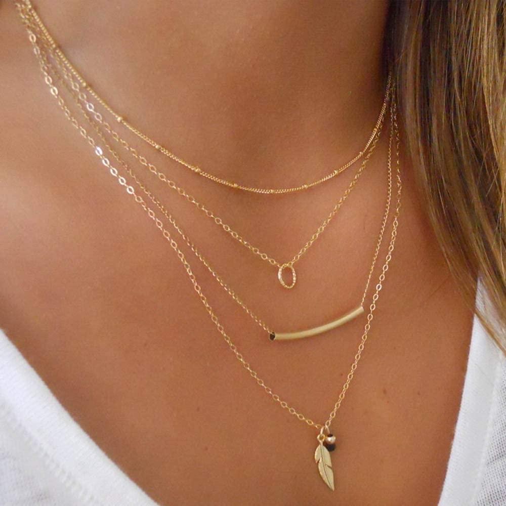 Jovono Collar bohemio multicapa con colgante de hoja para mujeres y niñas (oro)