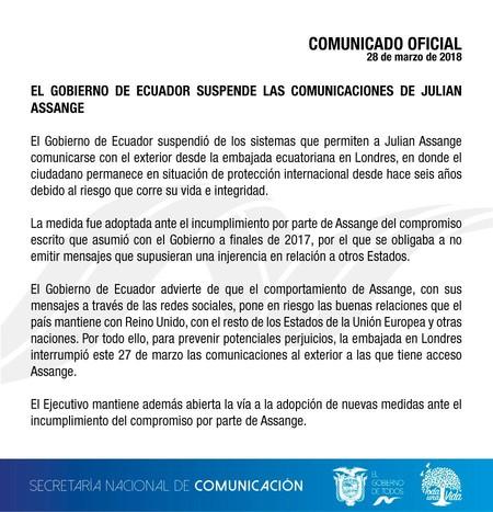 Comunicado Assange Ecuador