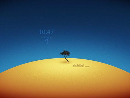 Tenere Tree: Otro bonito fondo con reloj animado