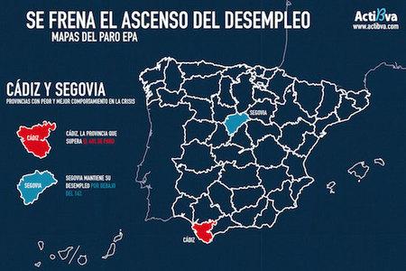 Segovia y Cádiz, cara cruz en los datos de empleo de la EPA (mapas del paro por provincias)