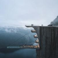El ambicioso proyecto que busca construir el primer hotel dentro de un acantilado con piscina suspendida sobre un fiordo noruego