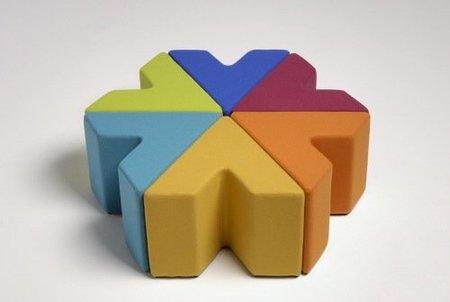 Asientos modulares multicolor