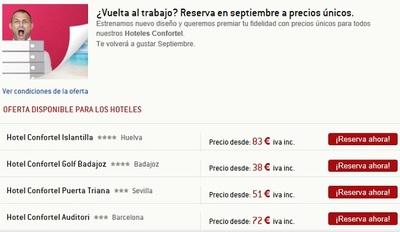 Confortel  hoteles nos ofrece descuentos para viajar en la recta final del verano