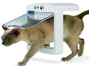 Puerta con lector de microchips para gatos