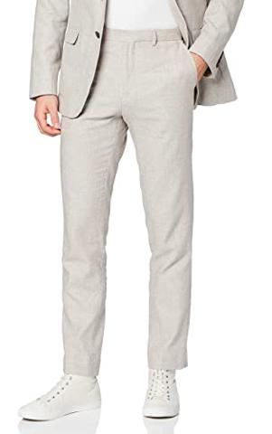 Pantalón de traje ajustado con lino